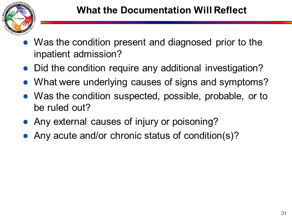 What the Documentation Will Reflect Was the condition present and diagnosed prior to the inpatient admission.