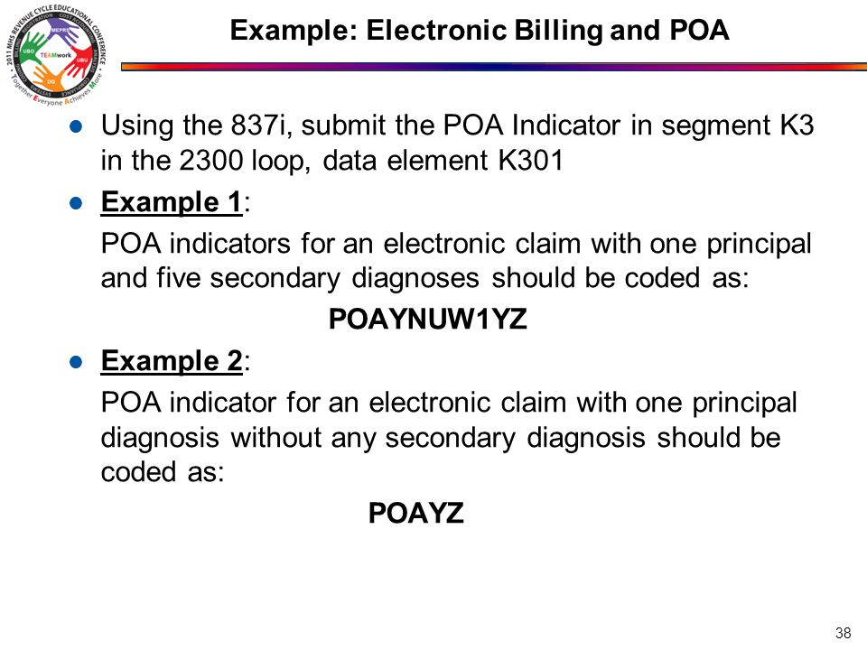 Example: Electronic Billing and POA Using the 837i, submit the POA Indicator in segment K3 in the 2300 loop, data element K301 Example 1: POA indicators for an electronic claim with one principal and five secondary diagnoses should be coded as: POAYNUW1YZ Example 2: POA indicator for an electronic claim with one principal diagnosis without any secondary diagnosis should be coded as: POAYZ 38