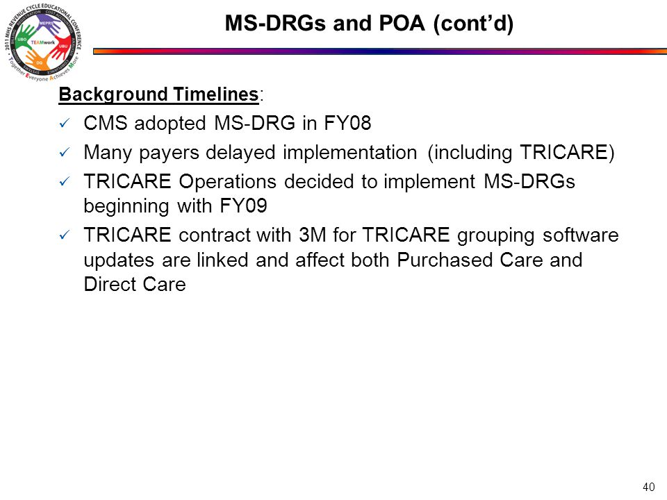 MS-DRGs and POA (cont'd) Background Timelines: CMS adopted MS-DRG in FY08 Many payers delayed implementation (including TRICARE) TRICARE Operations decided to implement MS-DRGs beginning with FY09 TRICARE contract with 3M for TRICARE grouping software updates are linked and affect both Purchased Care and Direct Care 40
