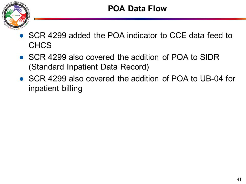 POA Data Flow SCR 4299 added the POA indicator to CCE data feed to CHCS SCR 4299 also covered the addition of POA to SIDR (Standard Inpatient Data Record) SCR 4299 also covered the addition of POA to UB-04 for inpatient billing 41