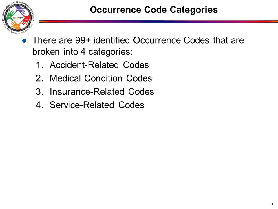 Occurrence Code Categories There are 99+ identified Occurrence Codes that are broken into 4 categories: 1.Accident-Related Codes 2.Medical Condition Codes 3.Insurance-Related Codes 4.Service-Related Codes 5
