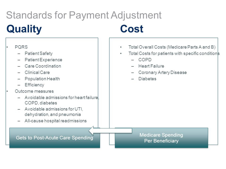 Standards for Payment Adjustment Quality PQRS –Patient Safety –Patient Experience –Care Coordination –Clinical Care –Population Health –Efficiency Outcome measures –Avoidable admissions for heart failure, COPD, diabetes –Avoidable admissions for UTI, dehydration, and pneumonia –All-cause hospital readmissions Cost Total Overall Costs (Medicare Parts A and B) Total Costs for patients with specific conditions –COPD –Heart Failure –Coronary Artery Disease –Diabetes Medicare Spending Per Beneficiary Medicare Spending Per Beneficiary Gets to Post-Acute Care Spending