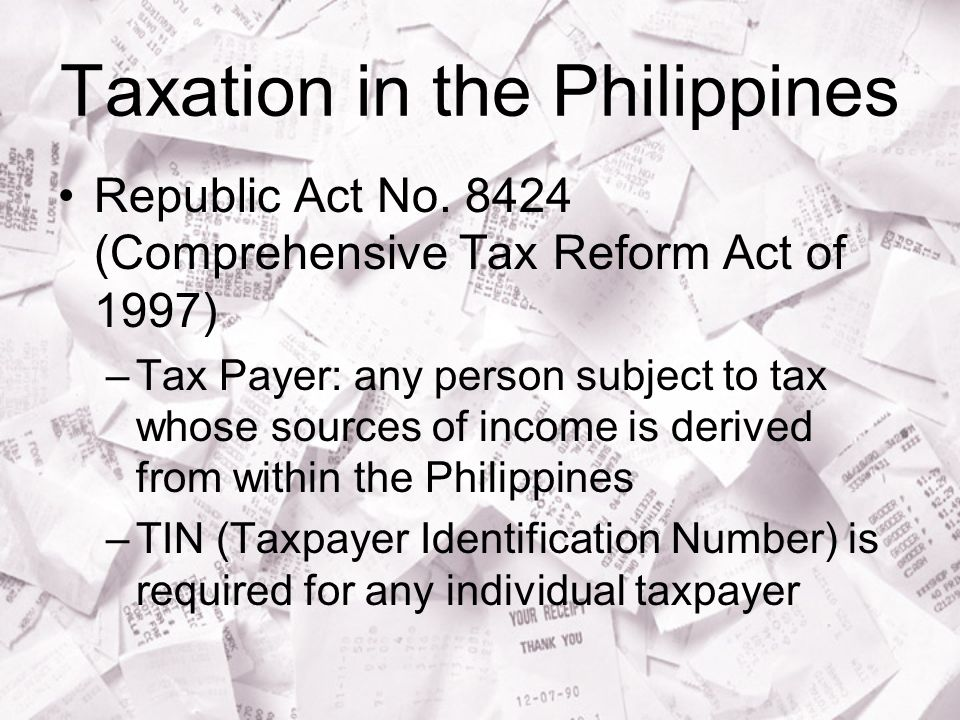Taxation in the Philippines Republic Act No.
