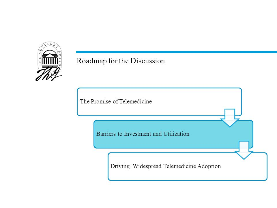 Roadmap for the Discussion The Promise of TelemedicineBarriers to Investment and UtilizationDriving Widespread Telemedicine Adoption