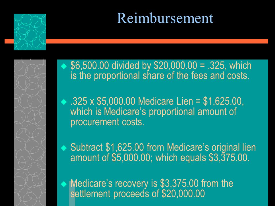 Reimbursement An Example Calculation of a Recovery Situation with Represented Medicare Claimant in a Liability Case  Facts: Settlement of $20,000.00.