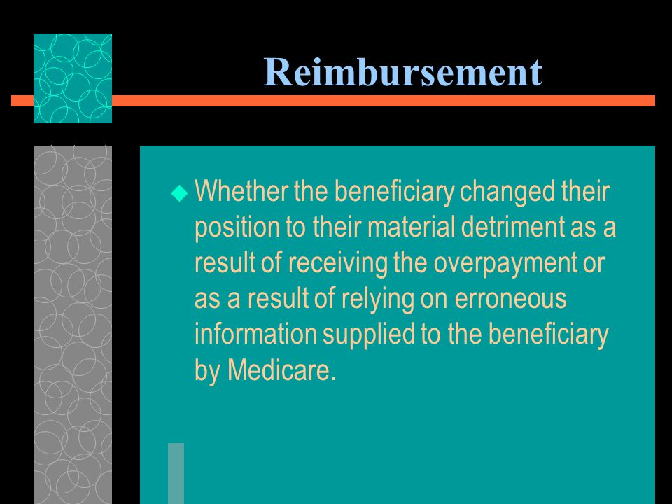 Reimbursement  Whether the beneficiary would be unjustly enriched by a waiver or adjustment of recovery; and