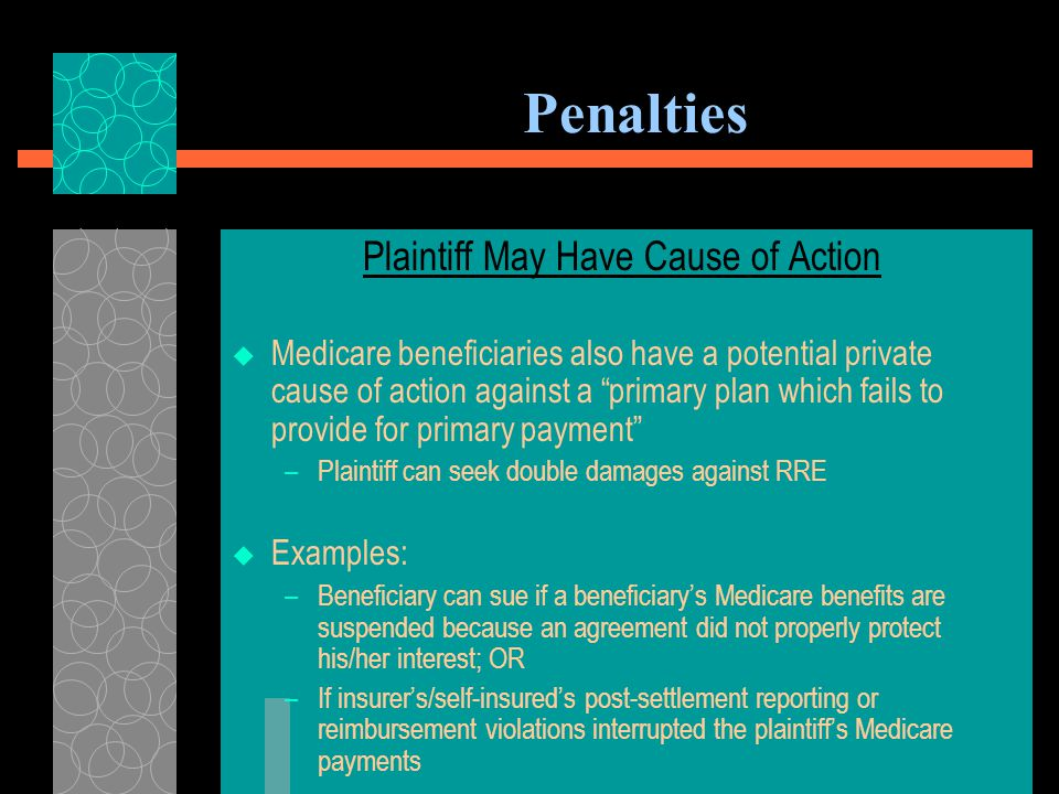 Penalties U. S. v Stricker (E.D. N.D. Ala. 2009) (No. CV-09- PT-2423-E)  The U.S. government sued to recover conditional payments and double damages