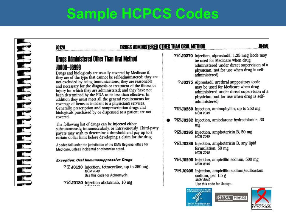 Sample HCPCS Codes