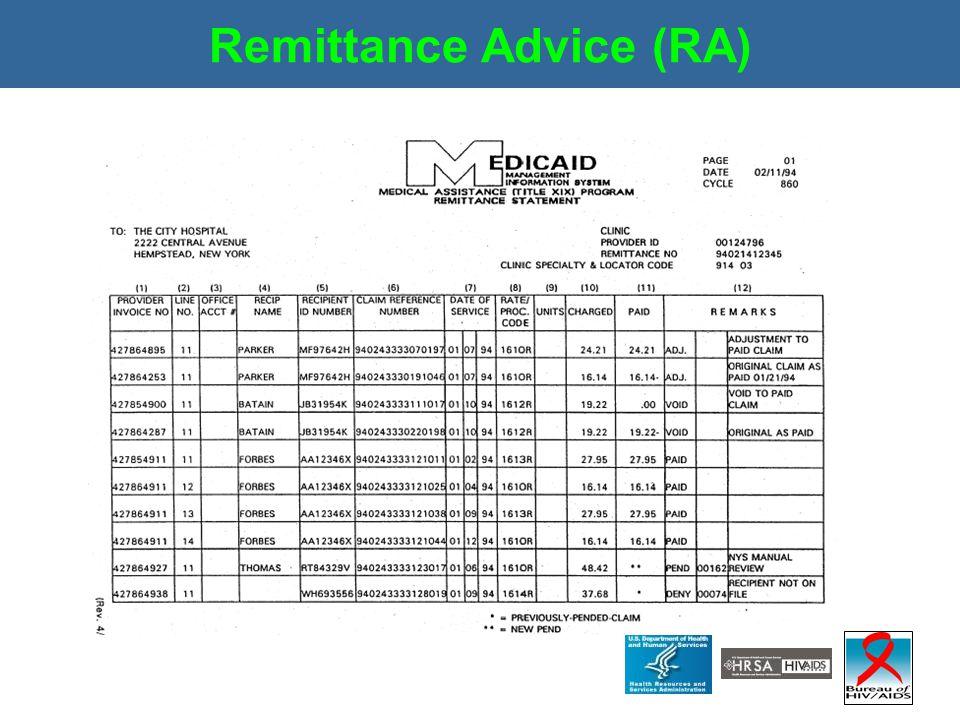 Remittance Advice (RA)