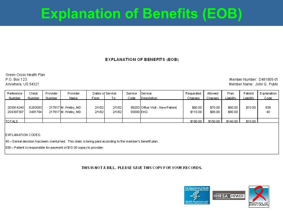 Explanation of Benefits (EOB)