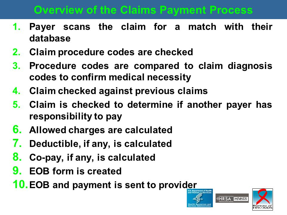 Overview of the Claims Payment Process 1.Payer scans the claim for a match with their database 2.Claim procedure codes are checked 3.Procedure codes a