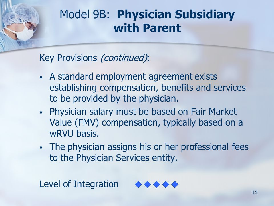 15 Model 9B: Physician Subsidiary with Parent Key Provisions (continued): A standard employment agreement exists establishing compensation, benefits a