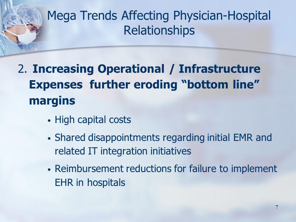 "7 Mega Trends Affecting Physician-Hospital Relationships 2. Increasing Operational / Infrastructure Expenses further eroding ""bottom line"" margins Hig"