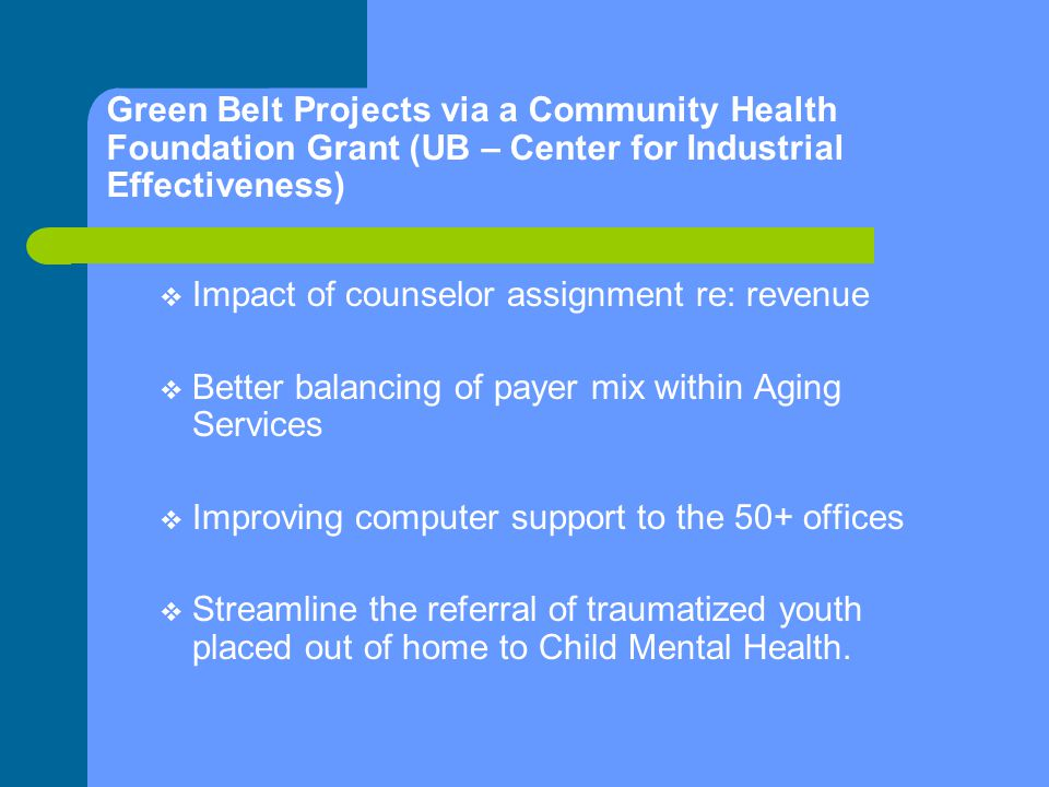 Green Belt Projects via a Community Health Foundation Grant (UB – Center for Industrial Effectiveness)  Impact of counselor assignment re: revenue  Better balancing of payer mix within Aging Services  Improving computer support to the 50+ offices  Streamline the referral of traumatized youth placed out of home to Child Mental Health.