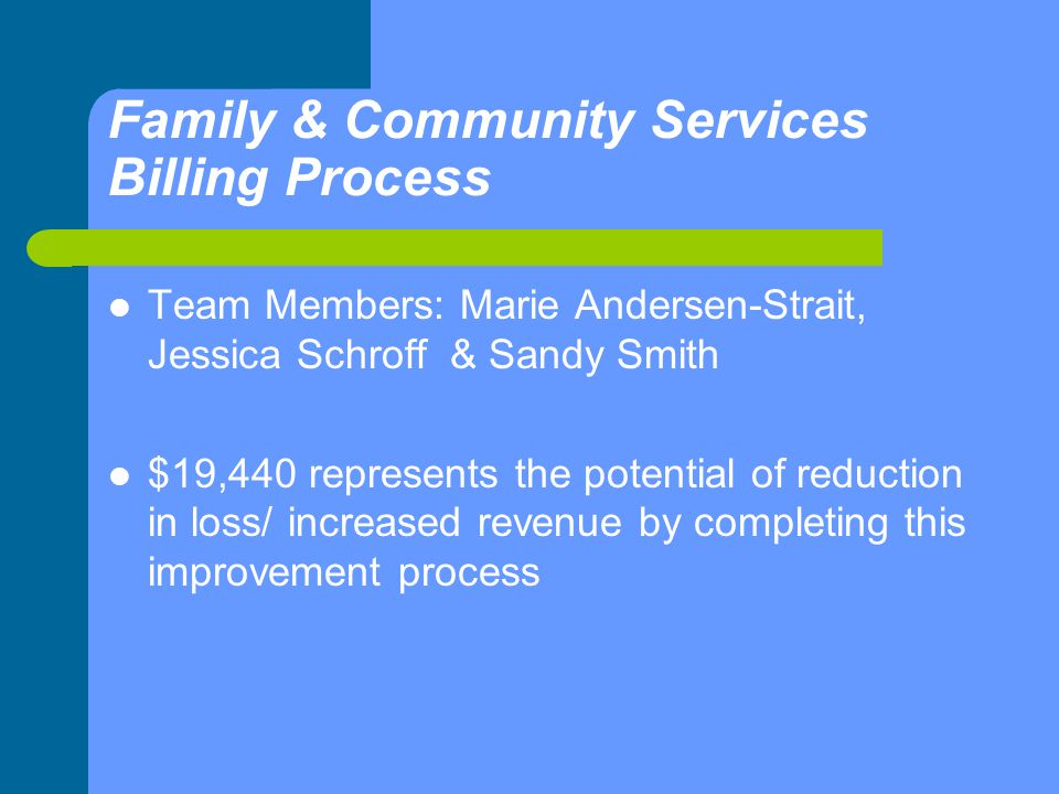 Family & Community Services Billing Process Team Members: Marie Andersen-Strait, Jessica Schroff & Sandy Smith $19,440 represents the potential of reduction in loss/ increased revenue by completing this improvement process