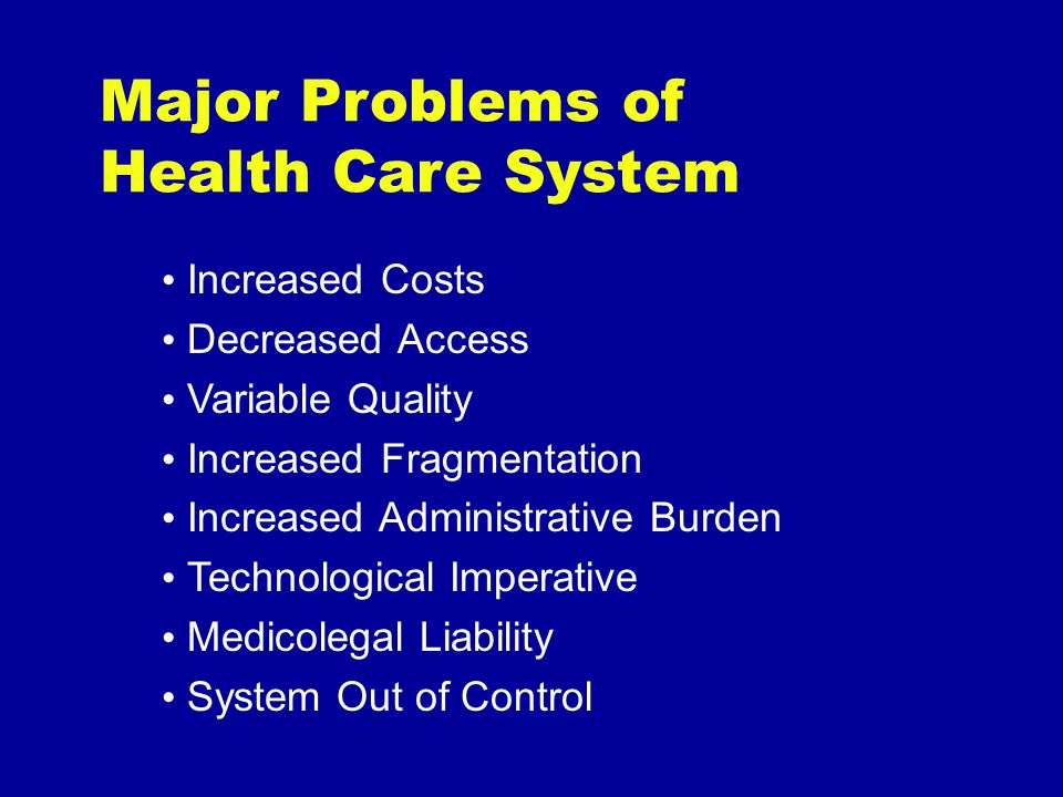 Increased Costs Decreased Access Variable Quality Increased Fragmentation Increased Administrative Burden Technological Imperative Medicolegal Liability System Out of Control Major Problems of Health Care System