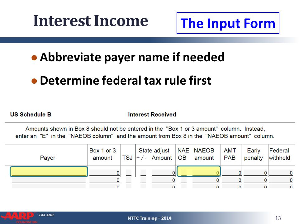 TAX-AIDE Interest Income ● Abbreviate payer name if needed ● Determine federal tax rule first NTTC Training – 2014 13 The Input Form
