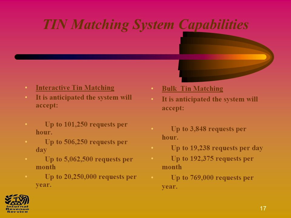 16 What's Next ??? The Interactive TIN Matching program is tentatively scheduled to be released in the Summer of 2003. The Bulk TIN Matching program i