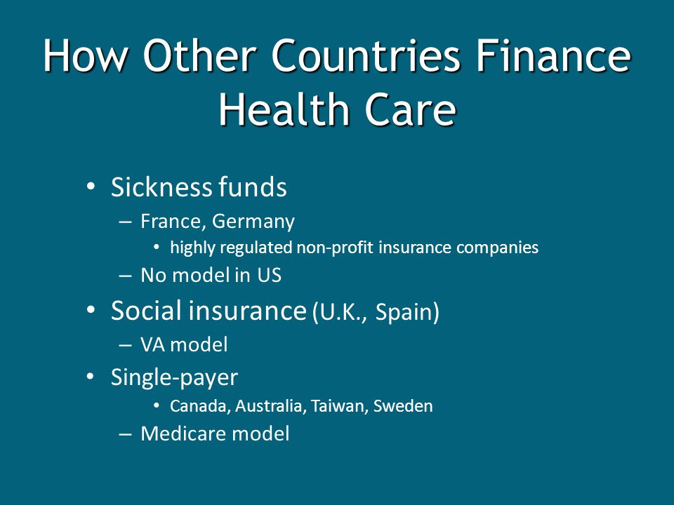 Sickness funds – France, Germany highly regulated non-profit insurance companies – No model in US Social insurance (U.K., Spain) – VA model Single-payer Canada, Australia, Taiwan, Sweden – Medicare model How Other Countries Finance Health Care