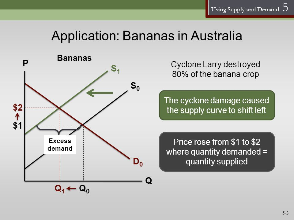 Using Supply and Demand 5 Application: Bananas in Australia D0D0 Q The cyclone damage caused the supply curve to shift left Cyclone Larry destroyed 80