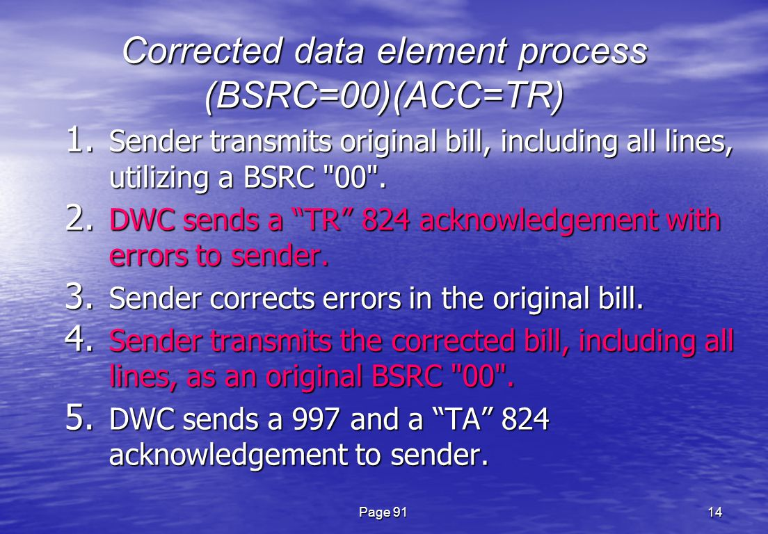 Page 9114 Corrected data element process (BSRC=00)(ACC=TR) 1.