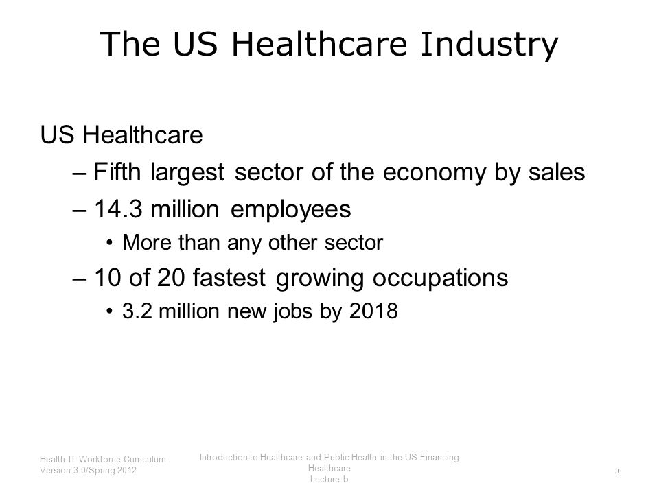 The US Healthcare Industry US Healthcare –Fifth largest sector of the economy by sales –14.3 million employees More than any other sector –10 of 20 fa