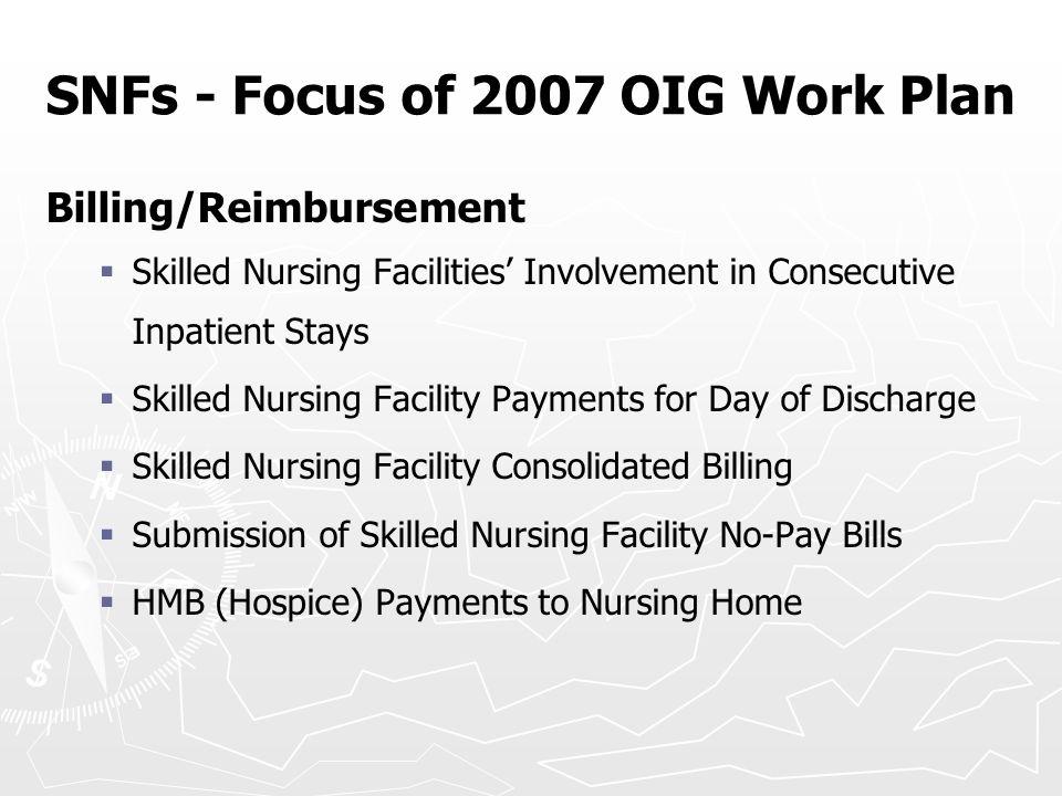 SNFs - Focus of 2007 OIG Work Plan Billing/Reimbursement   Skilled Nursing Facilities' Involvement in Consecutive Inpatient Stays   Skilled Nursin