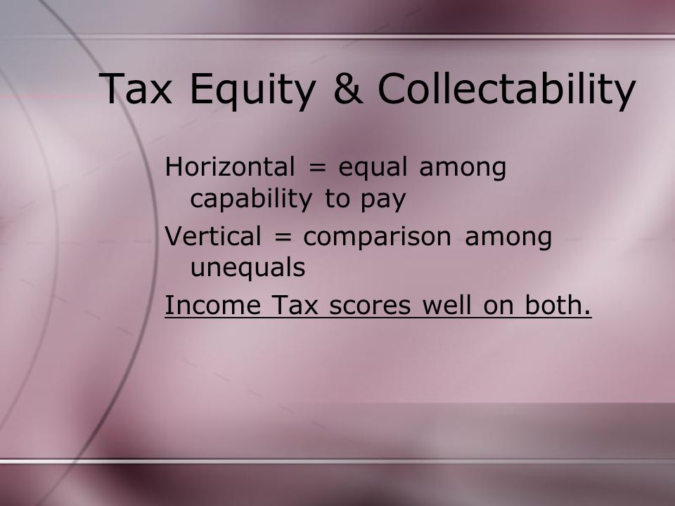 Tax Equity & Collectability Horizontal = equal among capability to pay Vertical = comparison among unequals Income Tax scores well on both.