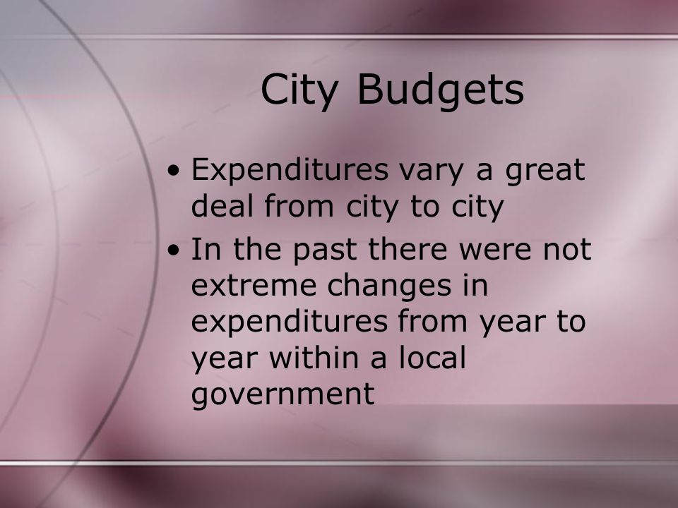 City Budgets Expenditures vary a great deal from city to city In the past there were not extreme changes in expenditures from year to year within a local government