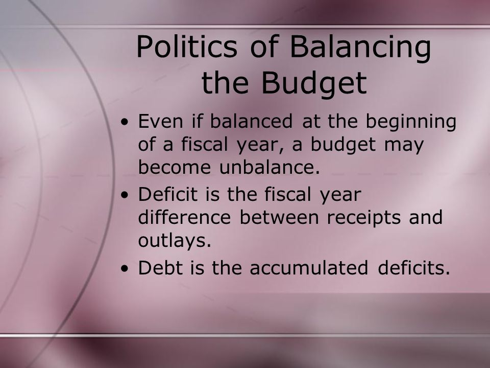 Politics of Balancing the Budget Even if balanced at the beginning of a fiscal year, a budget may become unbalance.
