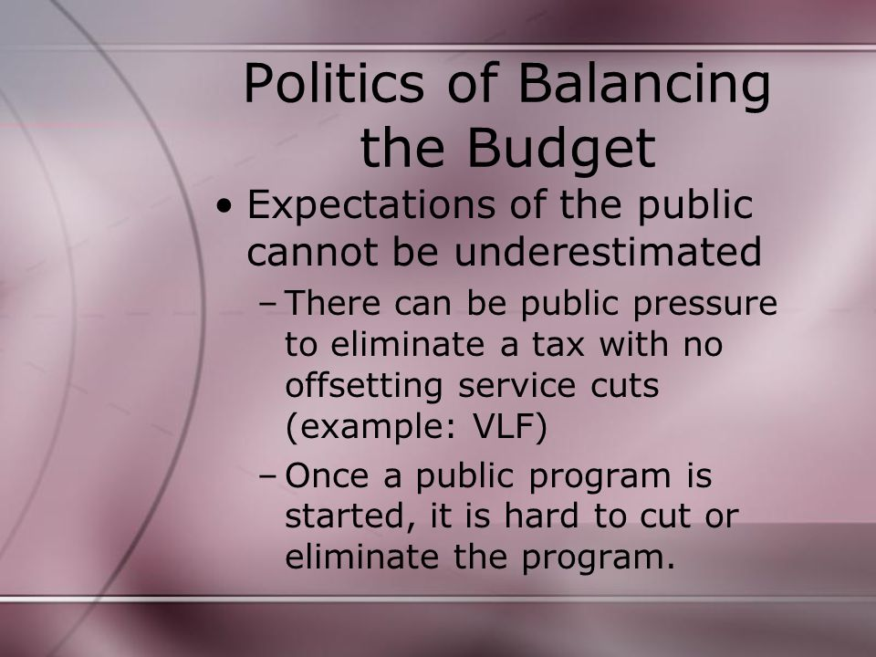 Politics of Balancing the Budget Expectations of the public cannot be underestimated –There can be public pressure to eliminate a tax with no offsetting service cuts (example: VLF) –Once a public program is started, it is hard to cut or eliminate the program.