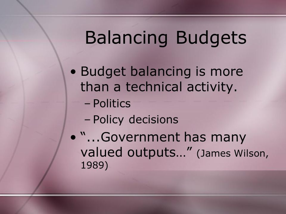 Balancing Budgets Budget balancing is more than a technical activity.
