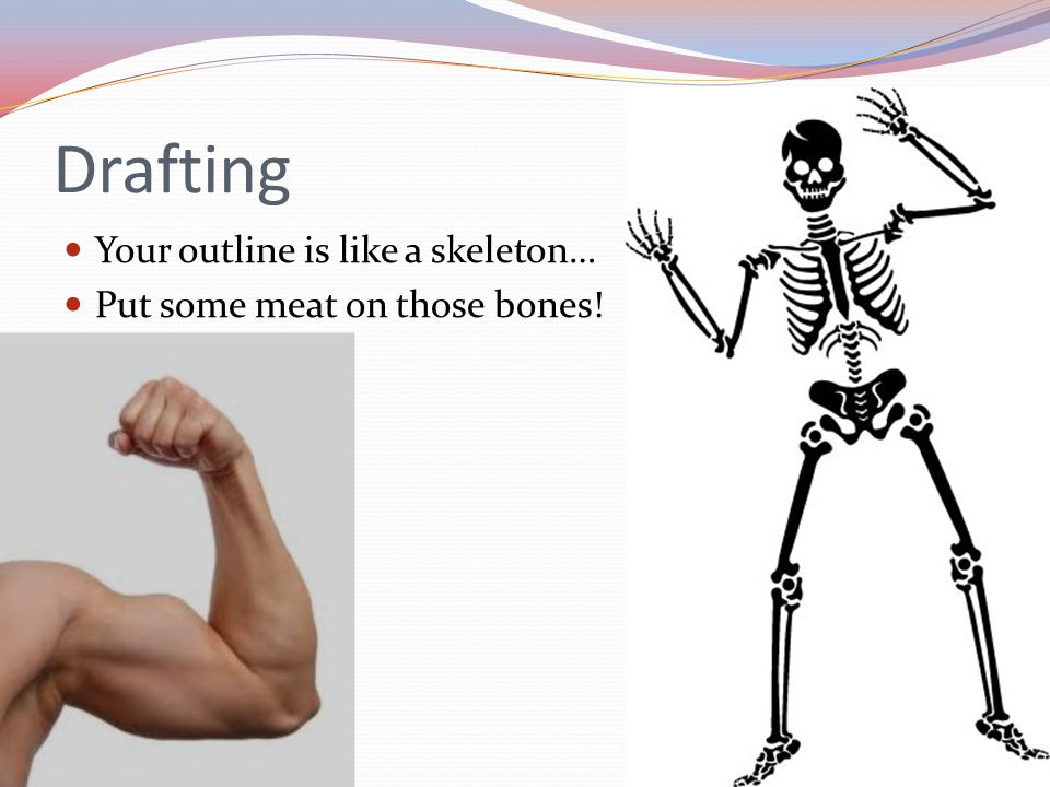 Drafting Your outline is like a skeleton… Put some meat on those bones!