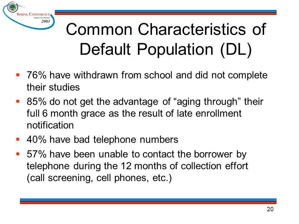 20 Common Characteristics of Default Population (DL)  76% have withdrawn from school and did not complete their studies  85% do not get the advantage of aging through their full 6 month grace as the result of late enrollment notification  40% have bad telephone numbers  57% have been unable to contact the borrower by telephone during the 12 months of collection effort (call screening, cell phones, etc.)