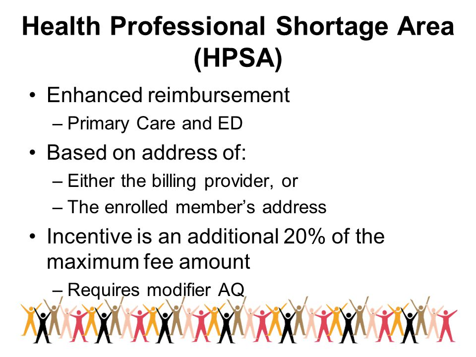 Health Professional Shortage Area (HPSA) Enhanced reimbursement –Primary Care and ED Based on address of: –Either the billing provider, or –The enrolled member's address Incentive is an additional 20% of the maximum fee amount –Requires modifier AQ