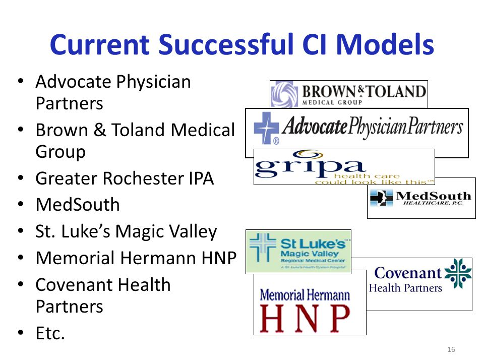 Current Successful CI Models Advocate Physician Partners Brown & Toland Medical Group Greater Rochester IPA MedSouth St. Luke's Magic Valley Memorial