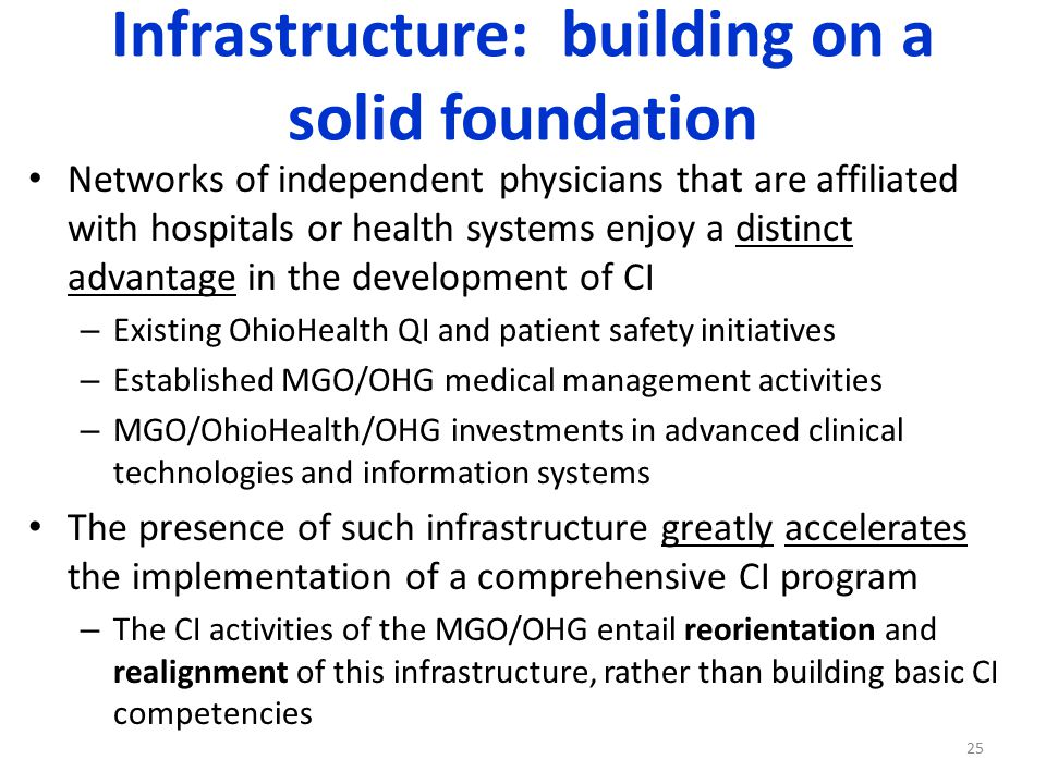 Infrastructure: building on a solid foundation Networks of independent physicians that are affiliated with hospitals or health systems enjoy a distinct advantage in the development of CI – Existing OhioHealth QI and patient safety initiatives – Established MGO/OHG medical management activities – MGO/OhioHealth/OHG investments in advanced clinical technologies and information systems The presence of such infrastructure greatly accelerates the implementation of a comprehensive CI program – The CI activities of the MGO/OHG entail reorientation and realignment of this infrastructure, rather than building basic CI competencies 25