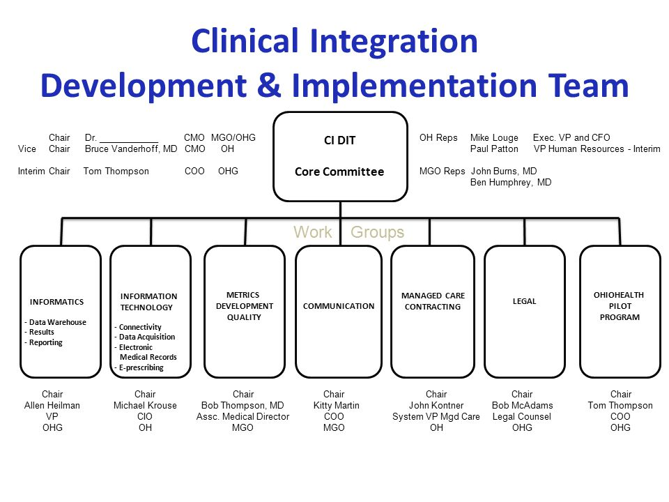 Clinical Integration Development & Implementation Team INFORMATICS - Data Warehouse - Results - Reporting INFORMATION TECHNOLOGY - Connectivity - Data Acquisition - Electronic Medical Records - E-prescribing METRICS DEVELOPMENT QUALITY COMMUNICATION MANAGED CARE CONTRACTING LEGAL OHIOHEALTH PILOT PROGRAM Work Groups Chair Allen Heilman VP OHG Chair Michael Krouse CIO OH Chair Bob Thompson, MD Assc.