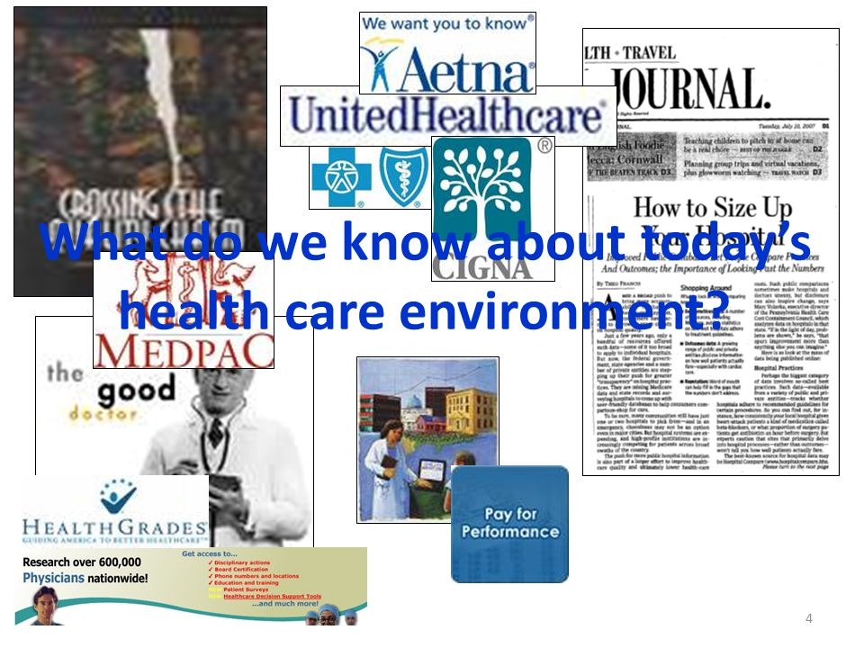 4 What do we know about today's health care environment?