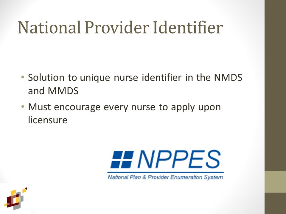 National Provider Identifier Solution to unique nurse identifier in the NMDS and MMDS Must encourage every nurse to apply upon licensure