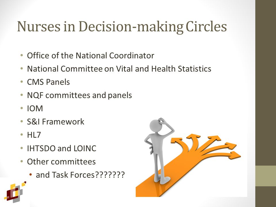 Nurses in Decision-making Circles Office of the National Coordinator National Committee on Vital and Health Statistics CMS Panels NQF committees and panels IOM S&I Framework HL7 IHTSDO and LOINC Other committees and Task Forces