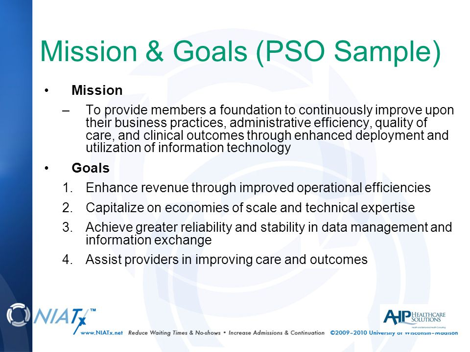 Mission & Goals (PSO Sample) Mission –To provide members a foundation to continuously improve upon their business practices, administrative efficiency, quality of care, and clinical outcomes through enhanced deployment and utilization of information technology Goals 1.Enhance revenue through improved operational efficiencies 2.Capitalize on economies of scale and technical expertise 3.Achieve greater reliability and stability in data management and information exchange 4.Assist providers in improving care and outcomes