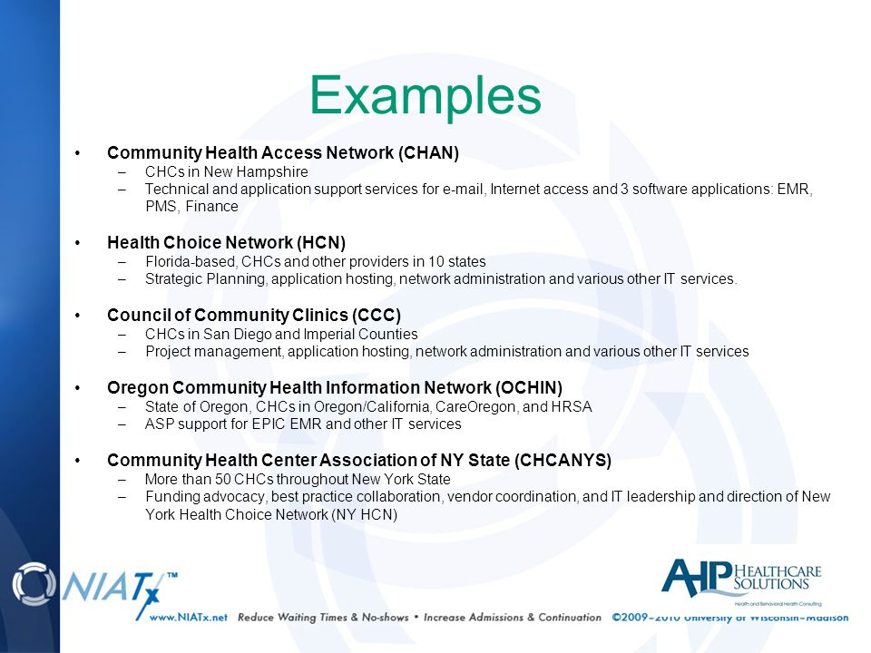 Examples Community Health Access Network (CHAN) –CHCs in New Hampshire –Technical and application support services for e-mail, Internet access and 3 software applications: EMR, PMS, Finance Health Choice Network (HCN) –Florida-based, CHCs and other providers in 10 states –Strategic Planning, application hosting, network administration and various other IT services.