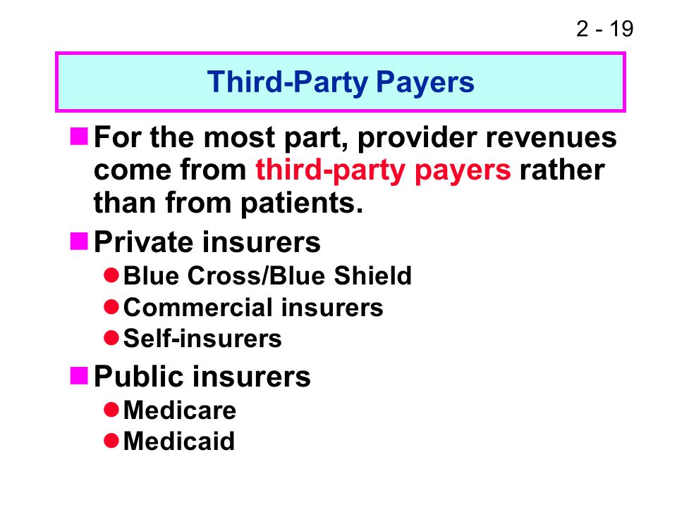 2 - 19 For the most part, provider revenues come from third-party payers rather than from patients. Private insurers Blue Cross/Blue Shield Commercial