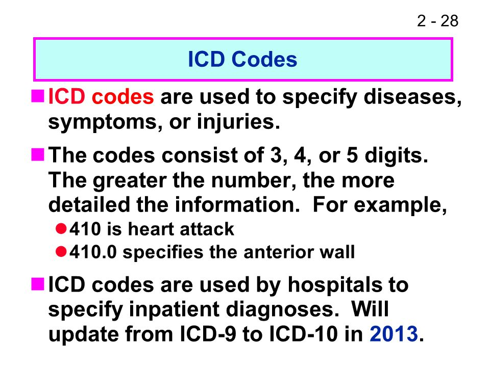 2 - 28 ICD codes are used to specify diseases, symptoms, or injuries.
