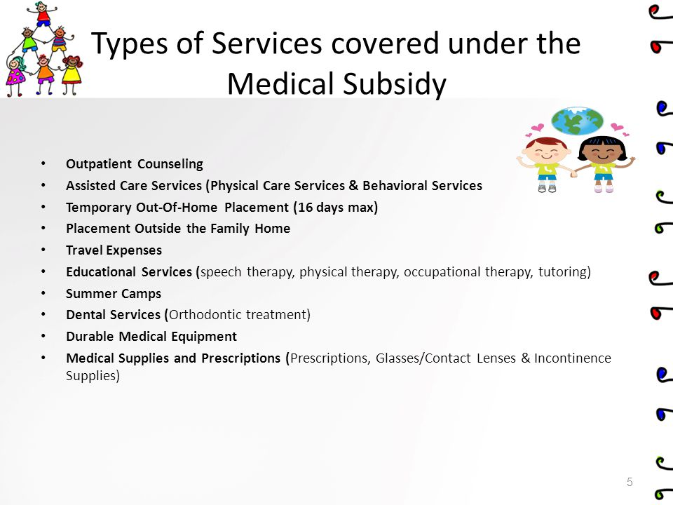 Outpatient Counseling Outpatient mental health and related services are those psychological, psychiatric, counseling, psychotherapy, or other similarly defined services for evaluation and/or treatment of emotional/mental conditions certified eligible by the Adoption Subsidy Program Office.