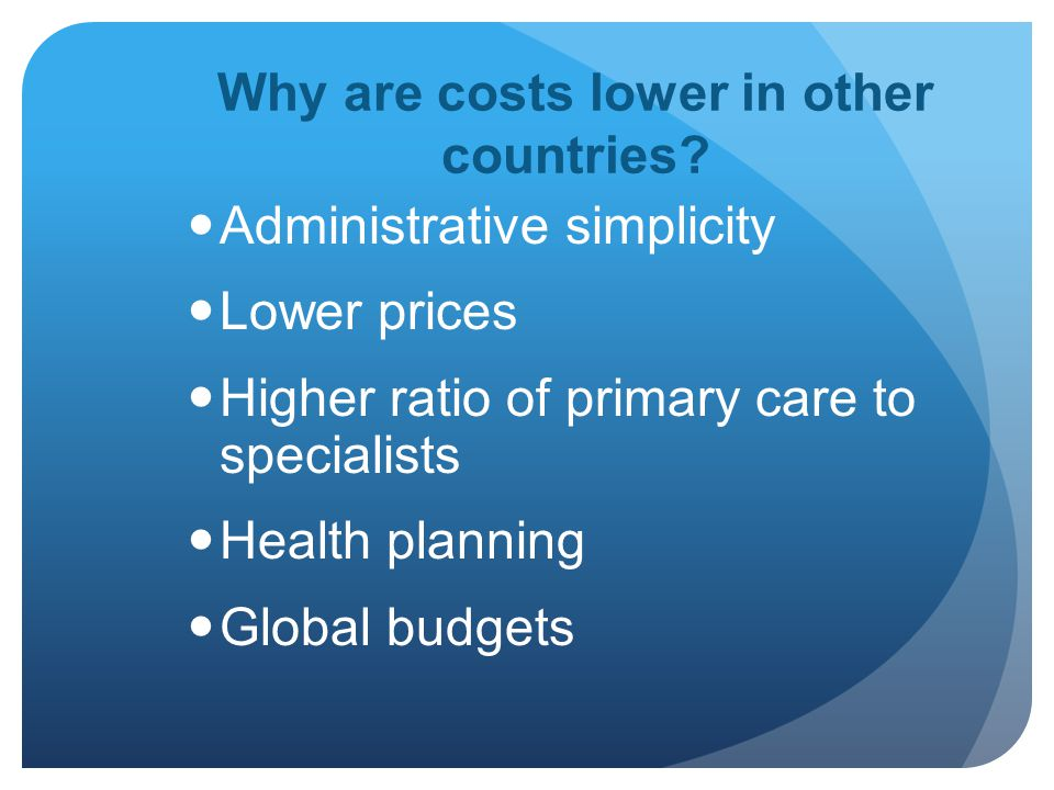 Why are costs lower in other countries.
