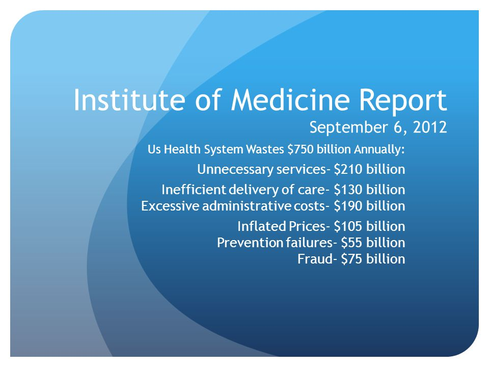 Institute of Medicine Report September 6, 2012 Us Health System Wastes $750 billion Annually: Unnecessary services- $210 billion Inefficient delivery of care- $130 billion Excessive administrative costs- $190 billion Inflated Prices- $105 billion Prevention failures- $55 billion Fraud- $75 billion