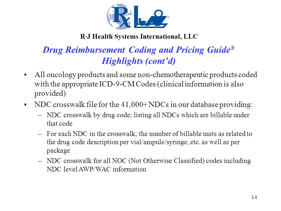 14 All oncology products and some non-chemotherapeutic products coded with the appropriate ICD-9-CM Codes (clinical information is also provided) NDC crosswalk file for the 41,000+ NDCs in our database providing: –NDC crosswalk by drug code; listing all NDCs which are billable under that code –For each NDC in the crosswalk; the number of billable units as related to the drug code description per vial/ampule/syringe, etc.