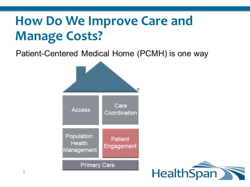 How Do We Improve Care and Manage Costs Patient-Centered Medical Home (PCMH) is one way 8